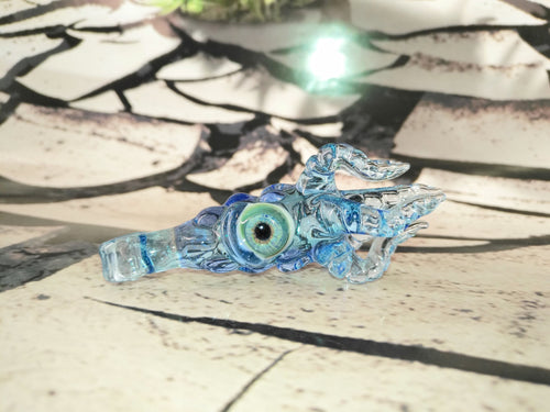 Raindrop Blue Mini Kraken Pendant by Krakenz Glass