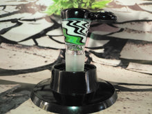 Load image into Gallery viewer, Black/Green Swirl Bowl by Talon Glass