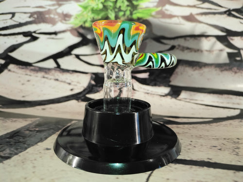 Multi Colour Swirl Bowl 14mm by HOSS Glass