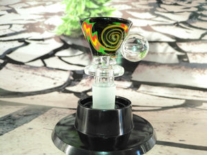 Black Multi Colour Swirl Bowl 14mm by OG Original