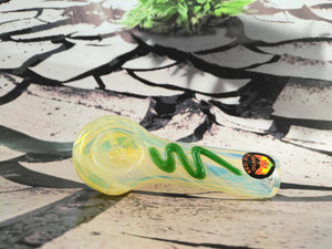 Yellow/Green Swish Pipe by Red Eye Glass