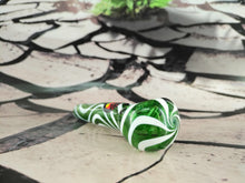 Load image into Gallery viewer, Green/White Swirls Pipe by Red Eye Glass