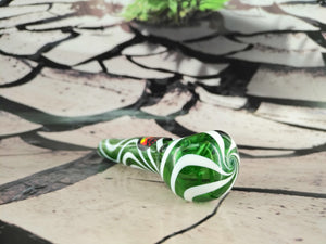 Green/White Swirls Pipe by Red Eye Glass