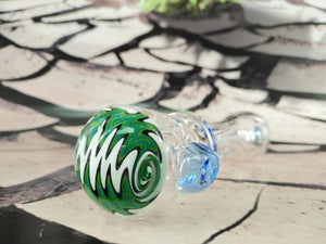 Green/White Swirl Pipe by Legendary Glass