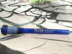 "6"" Blue Down Stem by HOSS Glass"