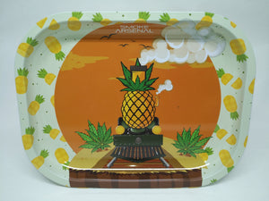 Pineapple Express Train Metal Rolling Tray - Small
