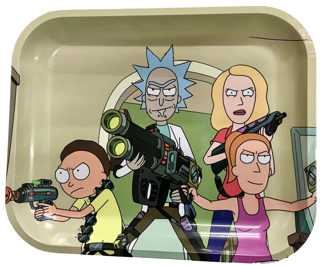 Rick & Morty Team Family Metal Rolling Tray - Large