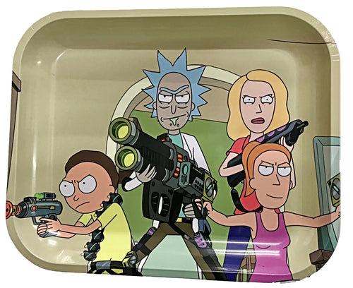 Rick & Morty Team Family Metal Rolling Tray - Small