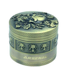 Load image into Gallery viewer, Bronze Floral Skull 4 Piece Grinder