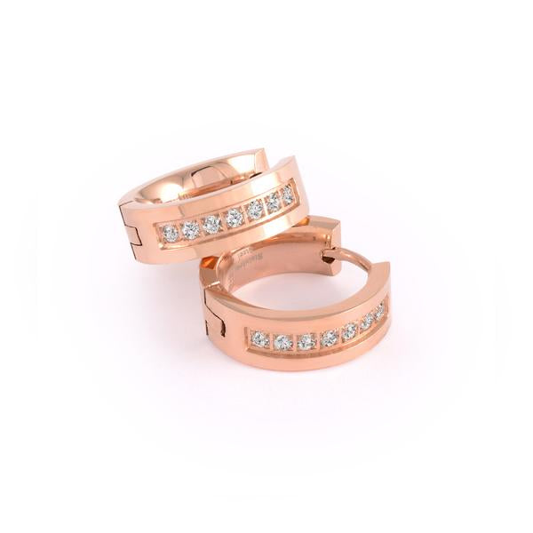 Rose Gold IP CZ Huggie Earrings by ITALGEM