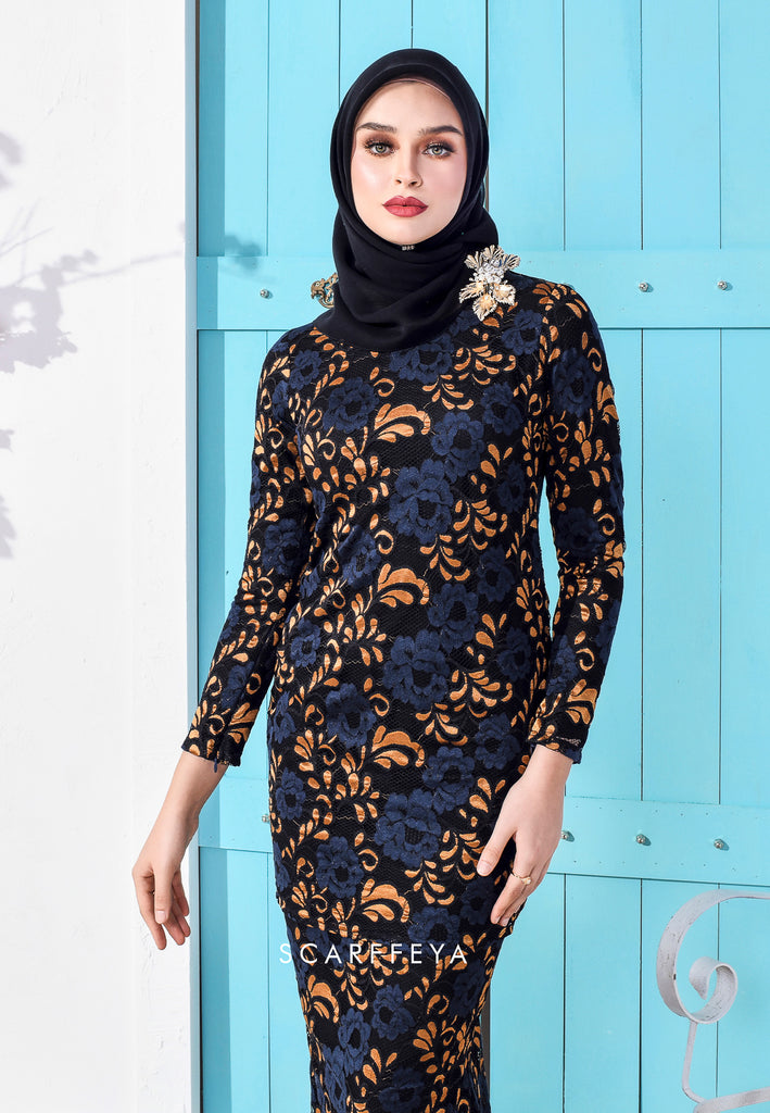 CAMILA LUXE FRENCH LACE KURUNG BLACK GOLD