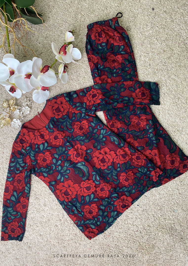 NATASHA KIDS LUXE FRENCH LACE KURUNG MAROON