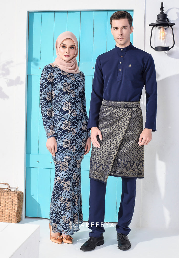 RHEA LUXE FRENCH LACE KURUNG NAVY BLUE