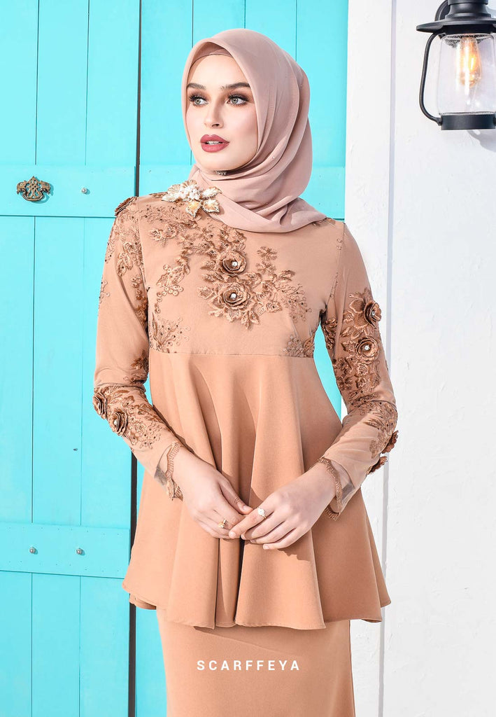 ELAINA DUSTY BROWN PEPLUM LUXE (RM269)