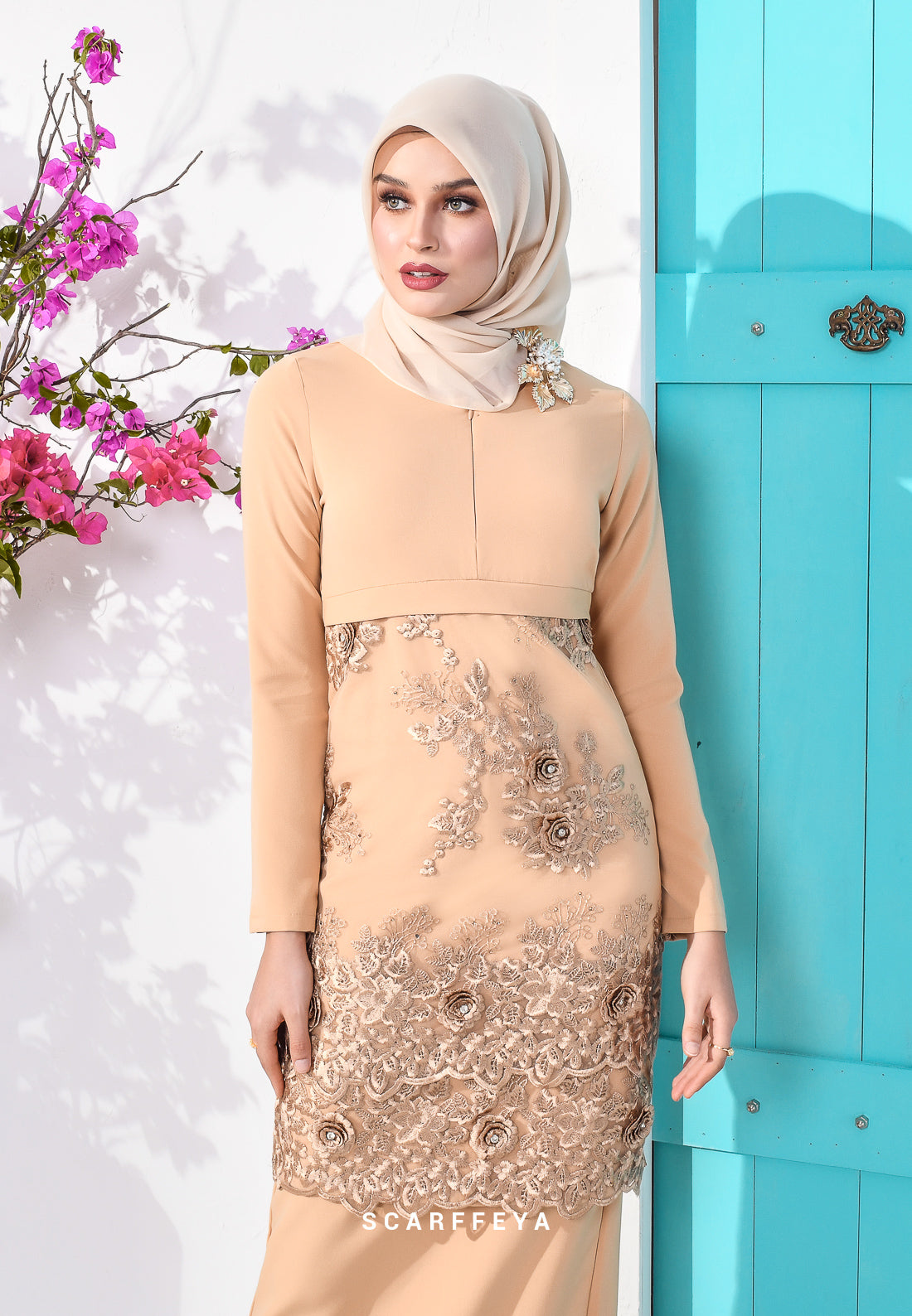 EMELDA (GOLD BROWN) KURUNG MODEN LUXE