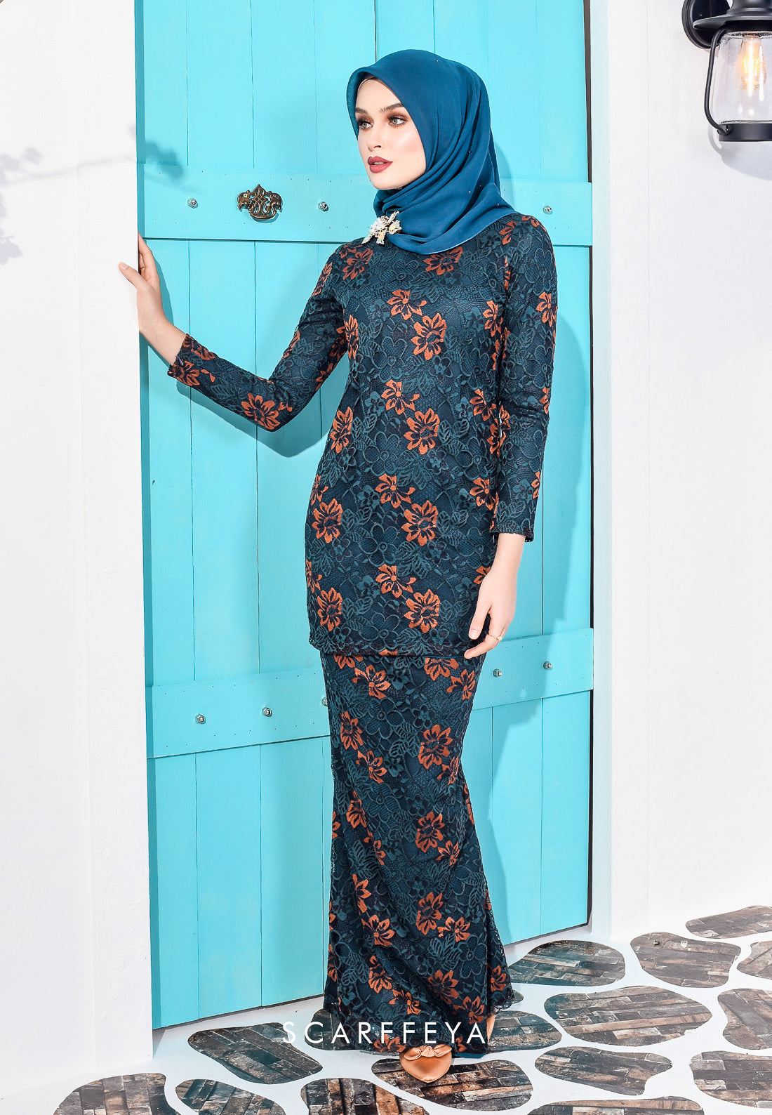MAKAYLA LUXE FRENCH LACE KURUNG EMERALD BLUE