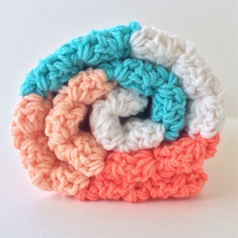 Handmade Handmade Baby Gifts | Chunky Crochet Baby Girl Blanket | Coral, Peach, Aqua and White
