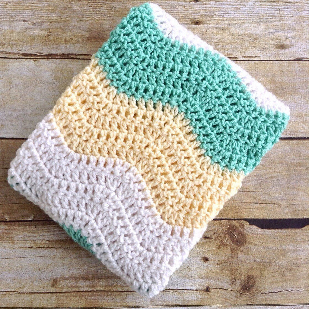 Handmade Baby Gift Crochet Gender Neutral Baby Blanket In Yellow Mint Green And White Chevron Design By Aw 60 00 Usd