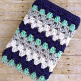 Nautical Crochet Baby Boy Blanket in Navy, Mint, Grey and White