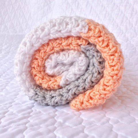 Peach and Grey Crochet Baby Girl Blanket