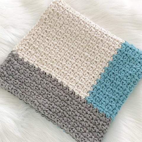 Modern Crochet Baby Blanket for Boys | Ocean Blue, Grey and Cream | Baby Gift