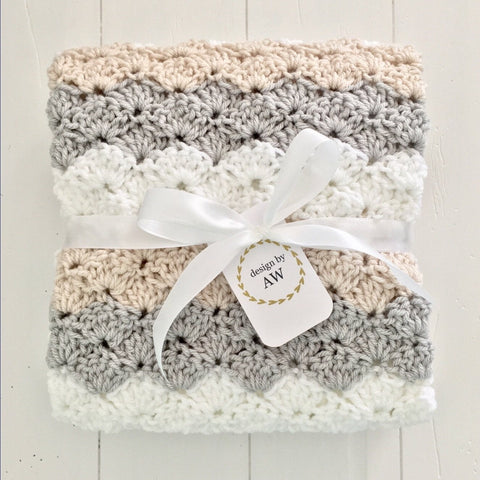 Crochet Handmade Baby Girl Blanket -Grey, White, Linen -Design by AW