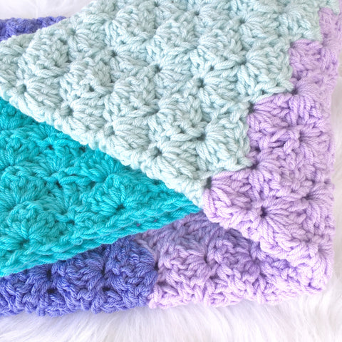 Crochet Baby Girl Blanket in Aqua and Purple