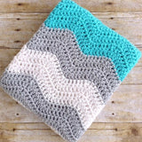 handmade crochet baby blanket, aqua grey white, chevron, baby boy blankets, design by aw