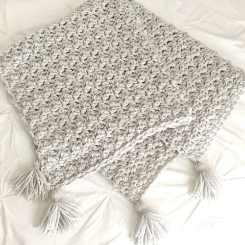 Chunky Grey Neutral Baby Blanket with Tassels