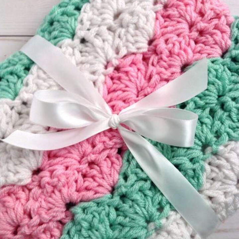 Baby Girl Crochet Blanket in Pink, Mint, and White Chunky Stripes