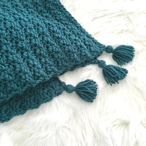 Chunky Teal Crochet Baby Blanket with Tassels