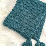 Chunky Teal Crochet Baby Boy Blanket with Tassels