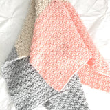 Modern Color Block Baby Girl Blanket in Pink, Grey and Linen