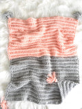 Crochet Boho Baby Girl Blanket in Pink and Grey