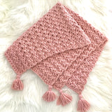Chunky Blush Pink Baby Girl Blanket with Tassels