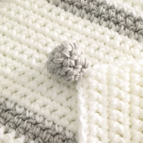 Grey and White Neutral Crochet Baby Blanket