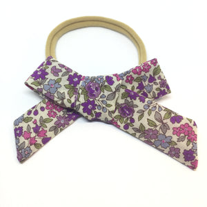 The Tiny Bow Shop - Lavender Floral Classic Hair Bow