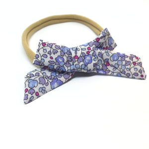 The Tiny Bow Shop - Blue and Pink Floral Dainty Hair Bow