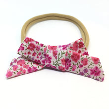 Load image into Gallery viewer, The Tiny Bow Shop - Valentine's Day Pink Floral Dainty Hair Bow
