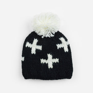 The Blueberry Hill - Black / White Miko Swiss Cross Knit Hat