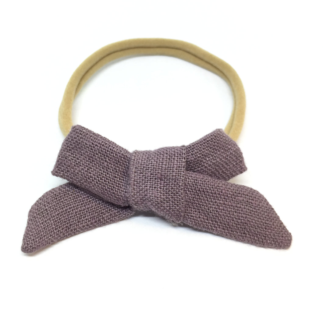 The Tiny Bow Shop - Smoke Purple Linen Dainty Hair Bow (Organic)