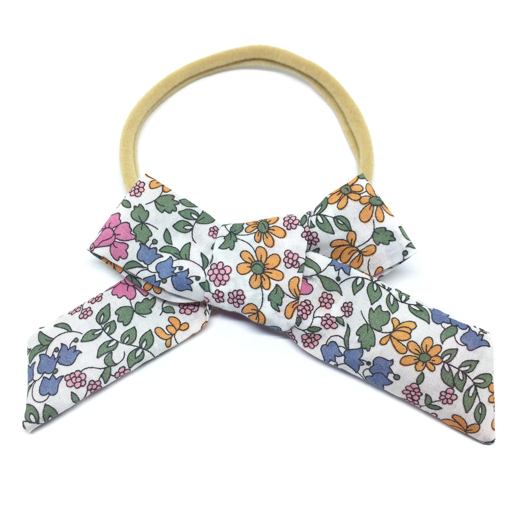 The Tiny Bow Shop - Mustard and Olive Floral Classic Hair Bow