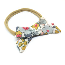Load image into Gallery viewer, The Tiny Bow Shop - Blue and Mustard Dainty Hair Bow