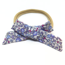 Load image into Gallery viewer, The Tiny Bow Shop - Blue and Pink Floral Dainty Hair Bow