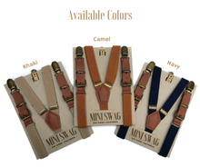 Load image into Gallery viewer, Mini Swag Textiles - Navy Leather Buckle Boys Suspenders