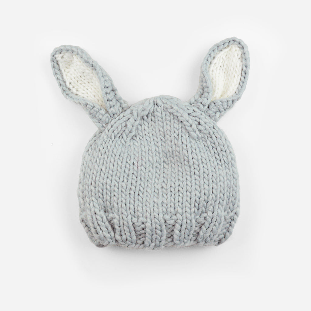 The Blueberry Hill - Grey / White Bailey Bunny Knit Hat