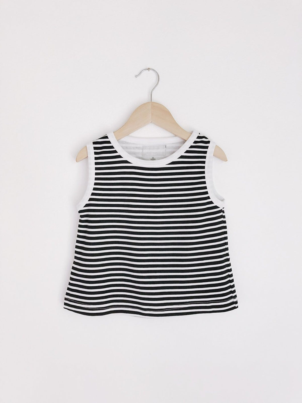 Basic Tank- Black and White Striped