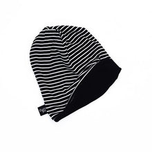 Load image into Gallery viewer, Reversible Slouchy Beanie- Black/Black/White Stripe & Solid Black