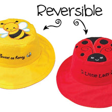 Load image into Gallery viewer, Reversible Kids' Sun Hat - Bee / Ladybug