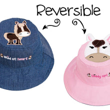 Load image into Gallery viewer, Reversible Kids' Sun Hat - Pony / Horse